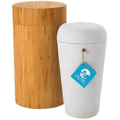 Eco-friendly & all natural made from recycled plant materials, without glues. Comes with a handmade bamboo urn case for transport and ceremonies. Proprietary design controls float/dissolve time and allows for use with any amount of cremated remains.