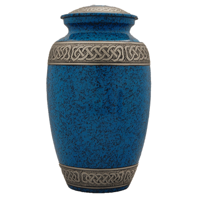 Blue Filigree with Silver Accent Urn (MUNS-101) Image
