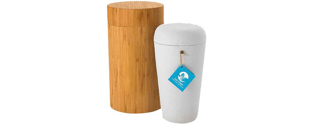 Eco-friendly & all natural cremation urn made from recycled plant materials, without glues. Comes with a handmade bamboo urn case for transport and ceremonies. Proprietary design controls float/dissolve time and allows for use with any amount of cremated remains.