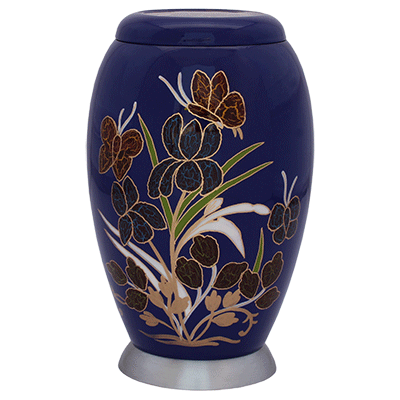 Blue Floral with Silver Base Accent Urn (MUNS-120) Image