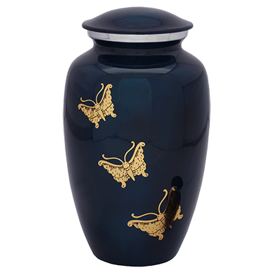 Dark Blue with Golden Butterflies Urn (MUNS-036) Image
