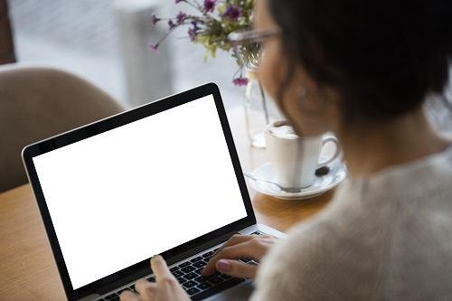Using blank white screen laptop