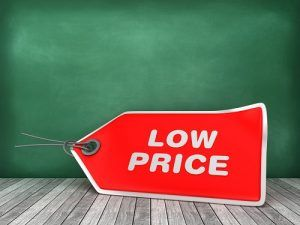LOW PRICE Tag on Chalkboard Background - 3D Rendering