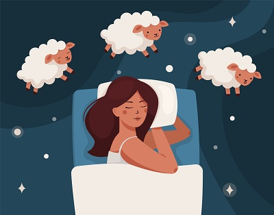 A woman falls asleep, dreams, and counts sheep. Insomnia and sleep disorders. The girl is lying on the bed, lambs are jumping around. Around the stars and dark space. Flat vector illustration.